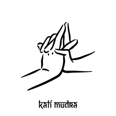 Kali mudra. Hand spirituality hindu yoga of fingers gesture. Technique of meditation for mental health.