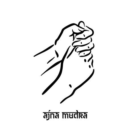 Ajna mudra. Hand spirituality hindu yoga of fingers gesture. Technique of meditation for mental health.