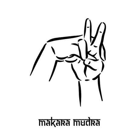 Makara mudra. Hand spirituality hindu yoga of fingers gesture. Technique of meditation for mental health.