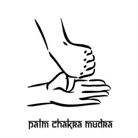 Palm chakra mudra. Hand spirituality hindu yoga of fingers gesture. Technique of meditation for mental health.