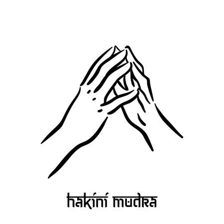 Hakini mudra. Hand spirituality hindu yoga of fingers gesture. Technique of meditation for mental health. Illustration