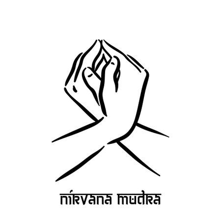 Nirvana mudra. Hand spirituality hindu yoga of fingers gesture. Technique of meditation for mental health.  イラスト・ベクター素材
