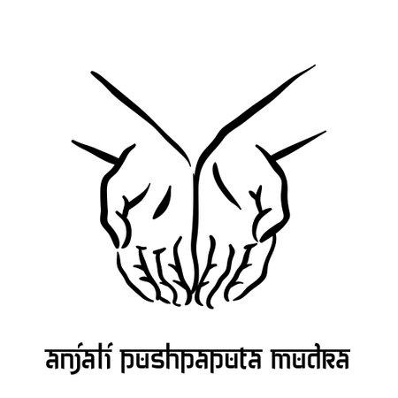 Anjali mudra. Hand spirituality hindu yoga of fingers gesture. Technique of meditation for mental health.