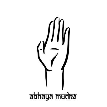Abhaya mudra. Hand spirituality hindu yoga of fingers gesture. Technique of meditation for mental health.