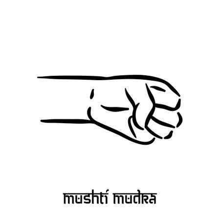 Mushti mudra. Hand spirituality hindu yoga of fingers gesture. Technique of meditation for mental health.