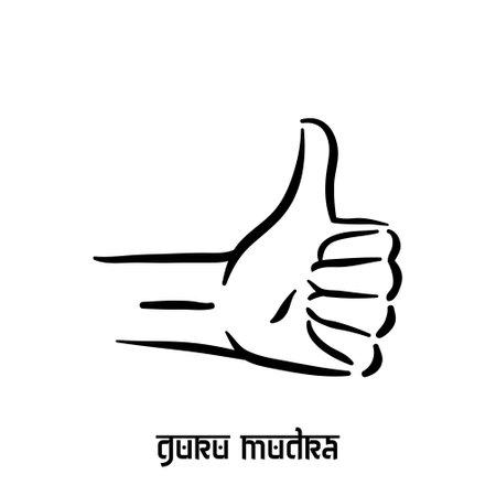 Guru mudra. Hand spirituality hindu yoga of fingers gesture. Technique of meditation for mental health.
