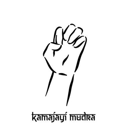 Kamajayi mudra. Hand spirituality hindu yoga of fingers gesture. Technique of meditation for mental health.
