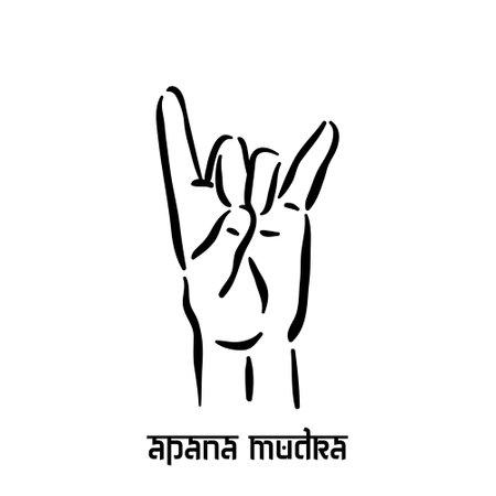 Apana mudra. Hand spirituality hindu yoga of fingers gesture. Technique of meditation for mental health.