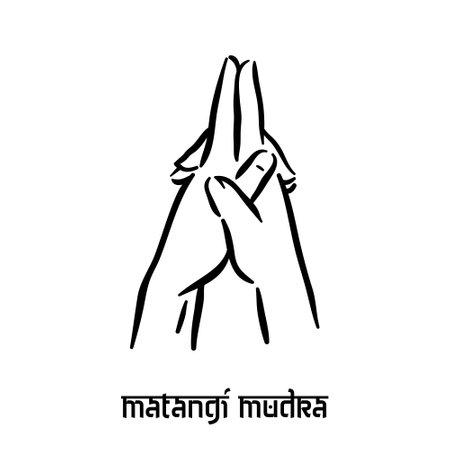 Matangi mudra. Hand spirituality hindu yoga of fingers gesture. Technique of meditation for mental health.