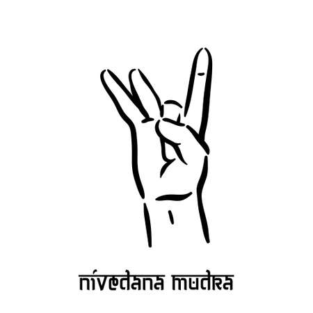 Nivedana mudra. Hand spirituality hindu yoga of fingers gesture. Technique of meditation for mental health. Illustration