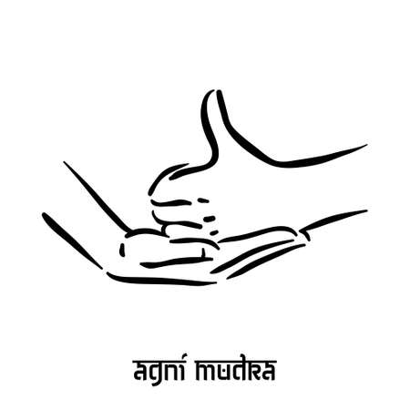 Agni mudra. Hand spirituality hindu yoga of fingers gesture. Technique of meditation for mental health. Illustration