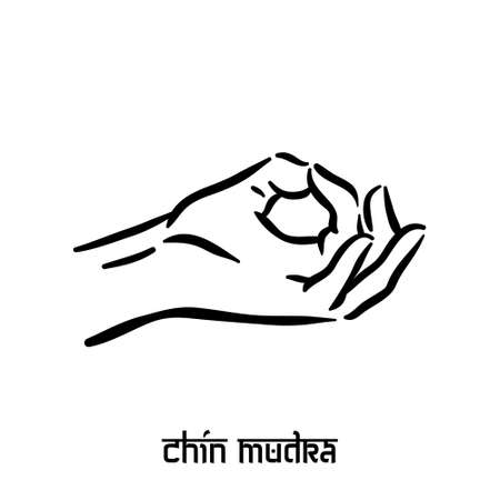 Chin mudra. Hand spirituality hindu yoga of fingers gesture. Technique of meditation for mental health.