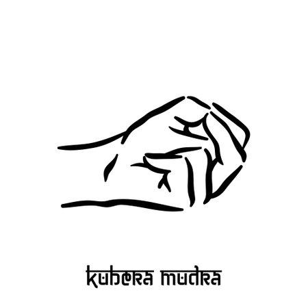 Kubera mudra. Hand spirituality hindu yoga of fingers gesture. Technique of meditation for mental health.
