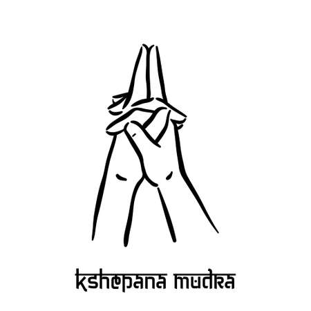 Kshepana mudra. Hand spirituality hindu yoga of fingers gesture. Technique of meditation for mental health. Illustration