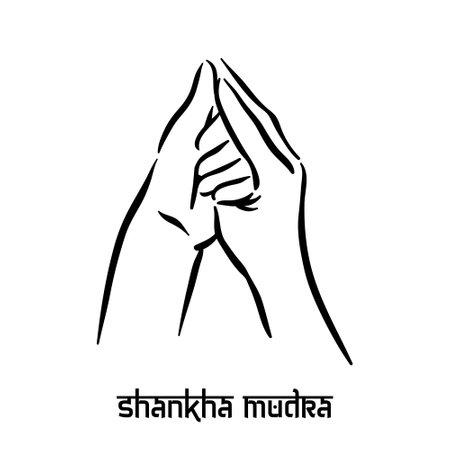Shankha mudra. Hand spirituality hindu yoga of fingers gesture. Technique of meditation for mental health. Illustration