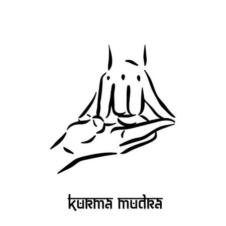 Kurma mudra. Hand spirituality hindu yoga of fingers gesture. Technique of meditation for mental health.