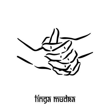 Linga mudra. Hand spirituality hindu yoga of fingers gesture. Technique of meditation for mental health.