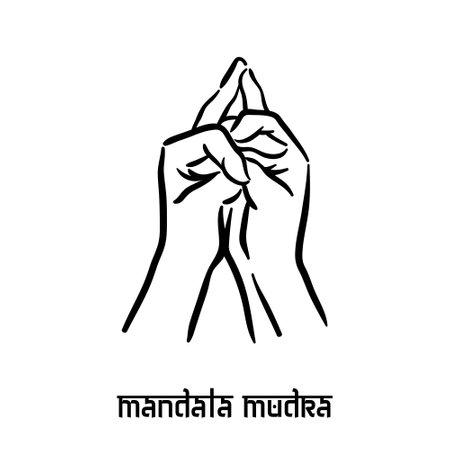 Mandala mudra. Hand spirituality hindu yoga of fingers gesture. Technique of meditation for mental health.