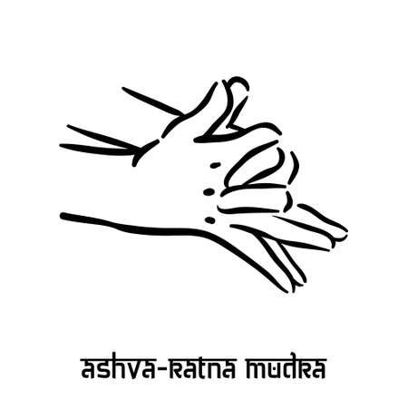 Ashva ratna mudra. Hand spirituality hindu yoga of fingers gesture. Technique of meditation for mental health.