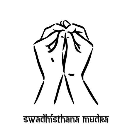 Swadhisthana mudra. Hand spirituality hindu yoga of fingers gesture. Technique of meditation for mental health.