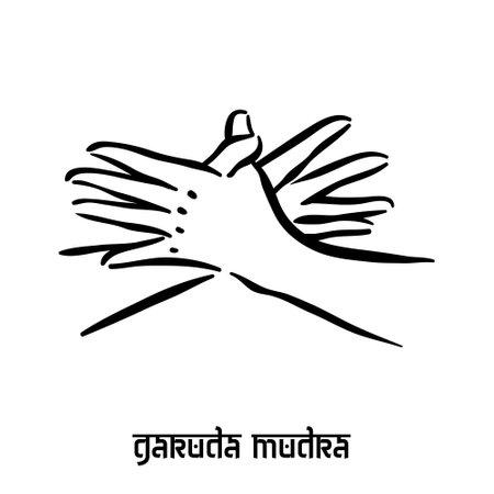 Garuda mudra . Hand spirituality hindu yoga of fingers gesture. Technique of meditation for mental health.
