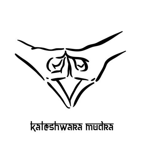 Kaleshwara mudra. Hand spirituality hindu yoga of fingers gesture. Technique of meditation for mental health.