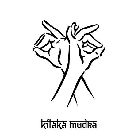 Kilaka mudra. Hand spirituality hindu yoga of fingers gesture. Technique of meditation for mental health.