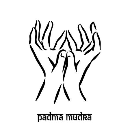 Padma mudra. Hand spirituality hindu yoga of fingers gesture. Technique of meditation for mental health. Illustration
