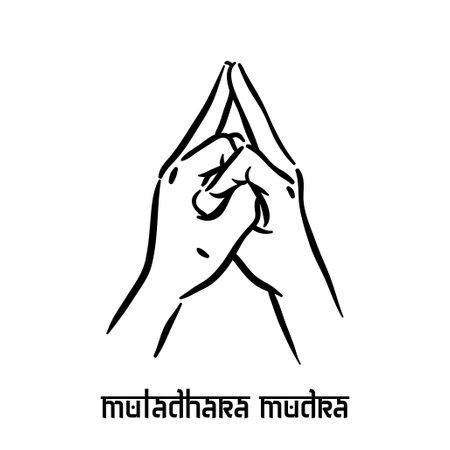 Muladhara mudra. Hand spirituality hindu yoga of fingers gesture. Technique of meditation for mental health.
