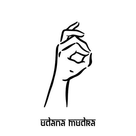 Udana mudra. Hand spirituality hindu yoga of fingers gesture. Technique of meditation for mental health.