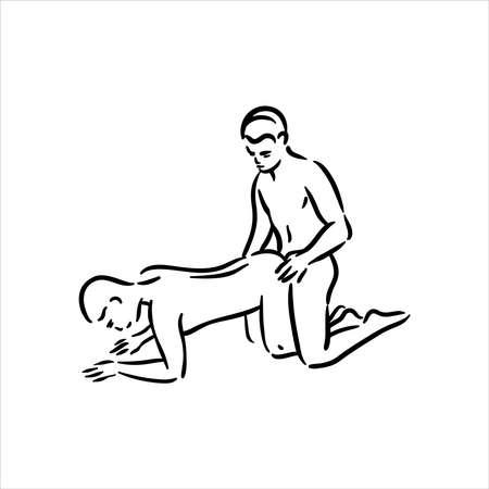 Homosexual two gay guys sex pose illustration Иллюстрация