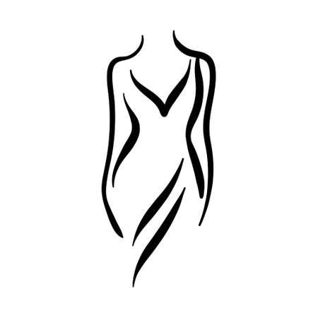 Female body silhouette line. Woman fashion art. Иллюстрация