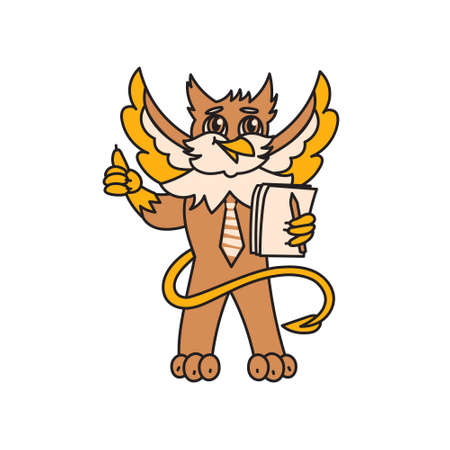 Griffin kid animal character manager with documents Иллюстрация