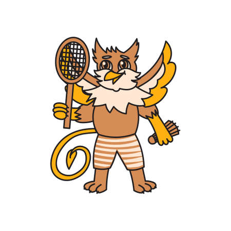 sportsman with badminton racket and shuttlecock