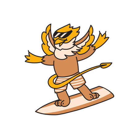Griffin kid animal character surfer on board