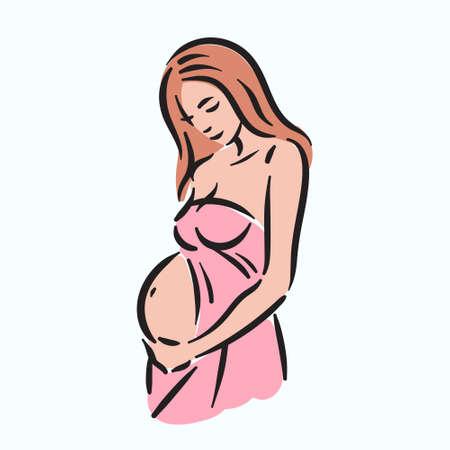 Fertillity pregnancy mother woman with belly illustration Иллюстрация