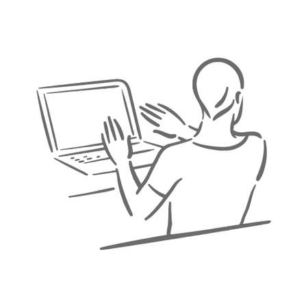 Upset stressed person with laptop on work Иллюстрация