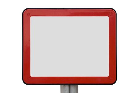 instruct: Empty enamel information sign, signboard and nameplate Stock Photo
