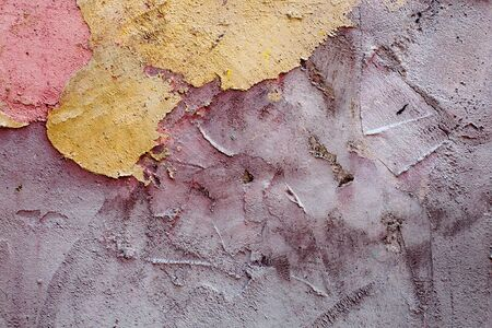 ruinous: colored wall, paint plaster Detail on House wall