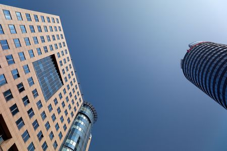 highriser: office Buildings with blue sky, jena, Thuringia, Germany