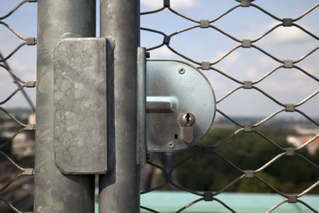 security lock: closed - high quality steel security lock Stock Photo