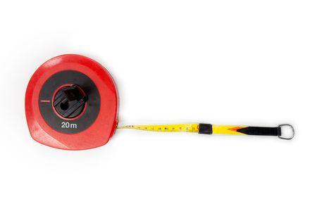 metering: 20 Meter - metering measuring tape, white Background Stock Photo