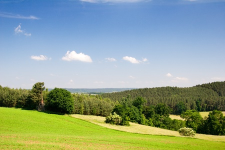 Landscape Thuringia in Summer with fild, Forest and blue sky photo