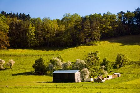 barrack: summer landscape with wooden barrack, agriculture country