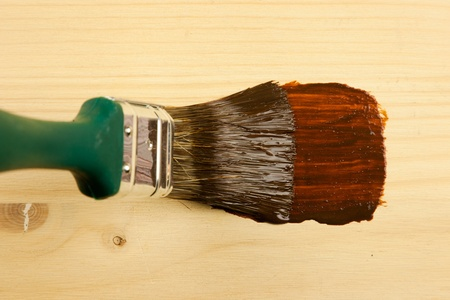 flat brush: A flat brush painting with wood Protection Stain Stock Photo