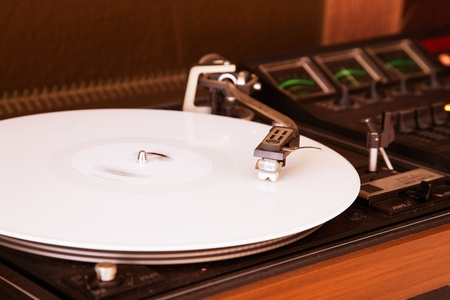 regulators: a classic record player with vinyl current Stock Photo