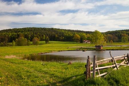 fish farming: id?lico paisaje en primavera con la piscicultura lago Foto de archivo