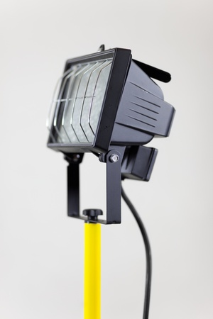 halide: metal halide lamp with halogen bulb headlight for building site Stock Photo