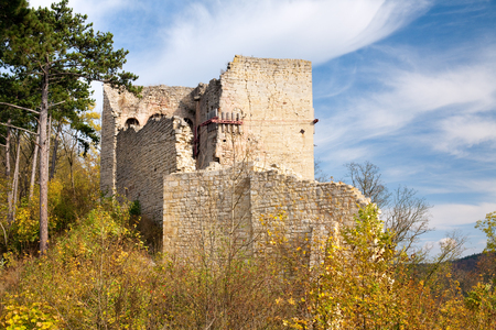 castle ruin Lobdeburg - historic building at fall, germany photo