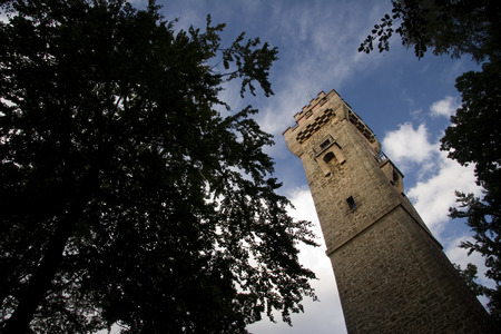 orla: the historic bismarck tower near Neustadt Orla from the frog perspective